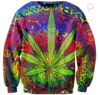 sweater weed crewneck sweatshirt clothes bright rasta blogger celebrity rainbow print psychedelic t-shirt