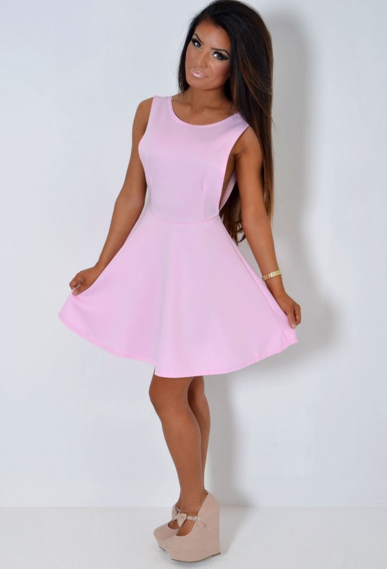 Intent Pastel Pink Backless Skater Dress | Pink Boutique