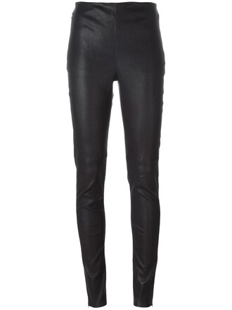 women spandex leather cotton blue pants