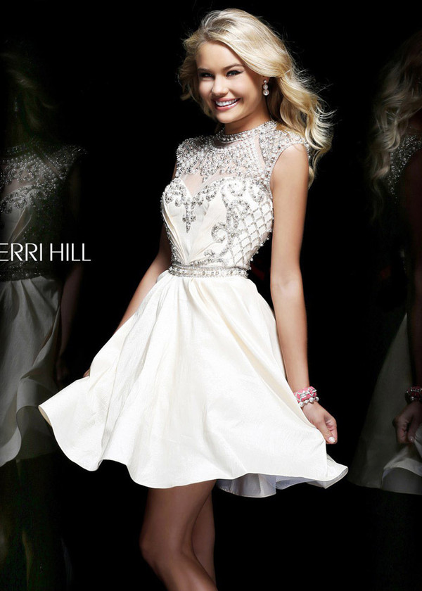 dress white prom dress shorts cut off shorts 2014 short cap sleeves ball gown white dress beaded dress beaded short dresses pearl midi ivory dress blonde hair wavy hair embellished embroidered prom graduation dress short prom dress short party dresses fashionista