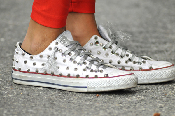 shoes converse studs spiked sneakers white personalized