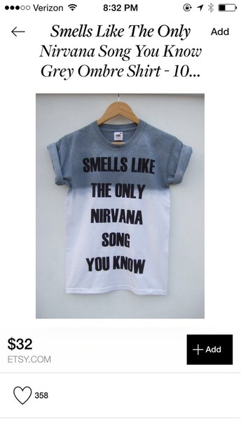 nirvana t-shirt band t-shirt top