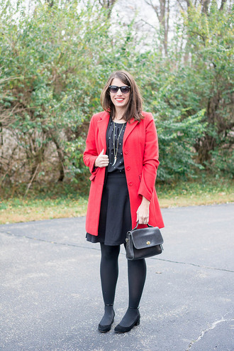styleontarget blogger blouse sunglasses coat cardigan jewels bag red coat winter outfits black skirt