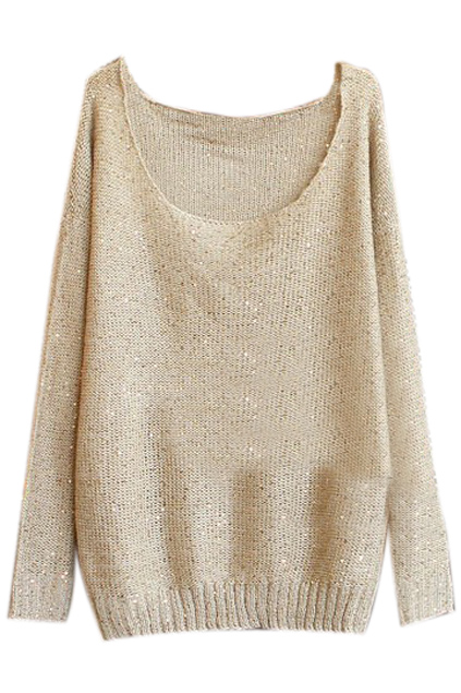 ROMWE | Sequins Embellished Light Coffee Jumper, The Latest Street Fashion