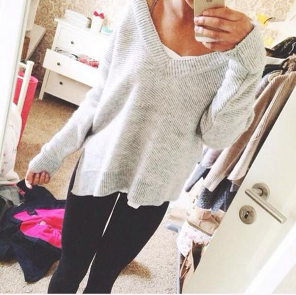 sweater wide neck light grey