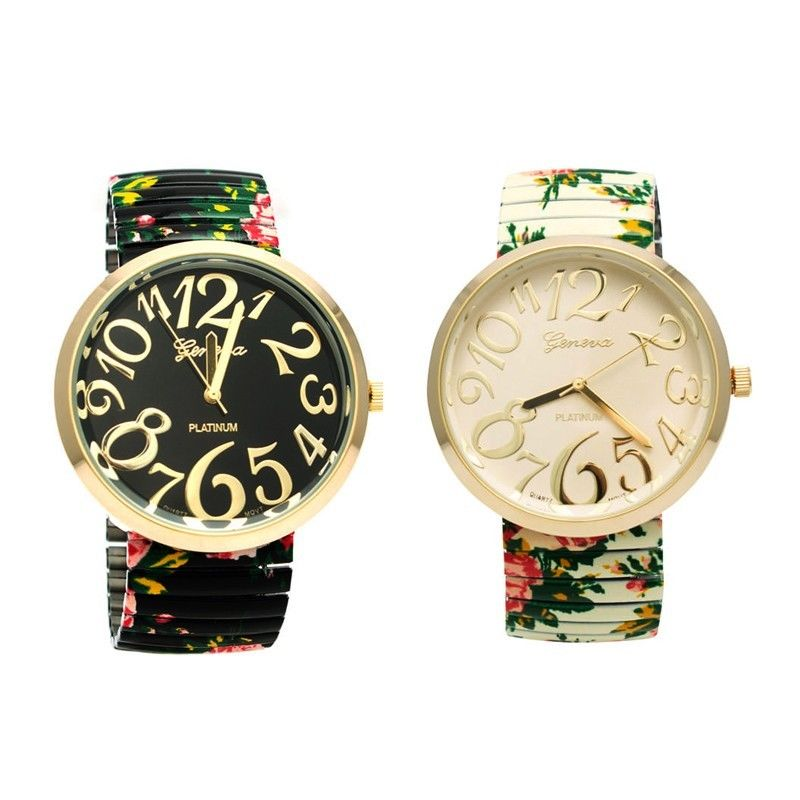 New Fashion Trend Allover Beautiful Floral Print Woman's Elastic Band Watch | eBay