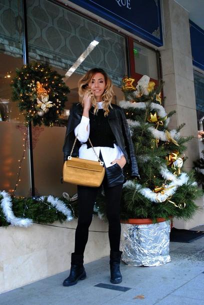 let's talk about fashion ! blogger bag white shirt leather jacket jacket blouse shorts shoes