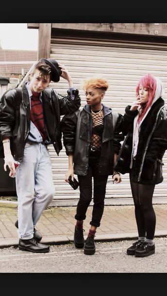 jacket leather jacket grunge