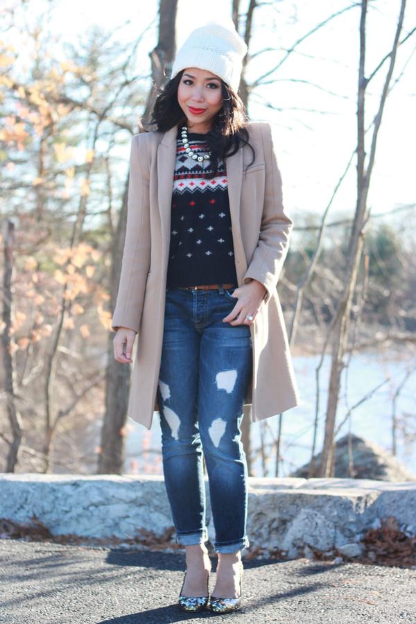 i am khatu sweater jeans shoes coat hat jewels