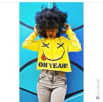 yellow hoodie belly t-shirt cropped hoodie smiley