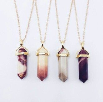 jewels gold jewelry crystal quartz necklace gemstone