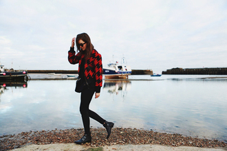 style scrapbook blogger red jacket houndstooth ankle boots