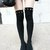 Women Punk Rock Studs Spike Studded Glamor Black Knee High Leg wear Socks on Wanelo