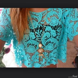 blouse lace turquoise blue light blue lace top laced laced light blue top laced blue top necklace jewels