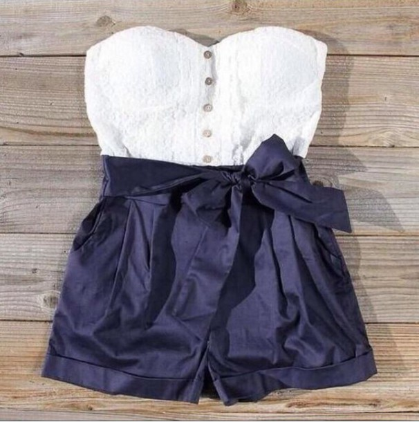 romper navy blue and white