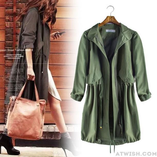 coat women long casual windbreaker drawstring collar stand