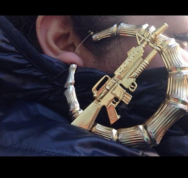 jewels machine gun earrings bamboo earring jewelry gold gun thug life gold hoop earrings big earrings hoop earrings large gold hoop earrings ak47 athletic aesthetic aesthetic soft ghetto machine gun earrings tumblr girl gold earrings