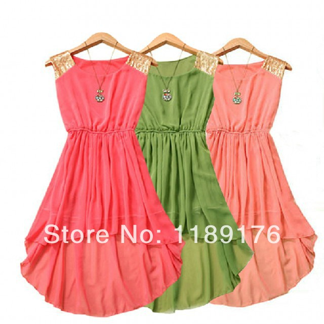new 2014 7 Color Fashion Women Sequins Shoulder Slim Waist Irregular dress Asymmetrical Chiffon Candy Tank Vest Dress Sleeveless-in Dresses from Apparel & Accessories on Aliexpress.com