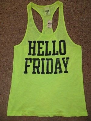 Victoria's Secret Pink Neon Yellow Hello Friday Tank Tee Shirt Top XS L | eBay