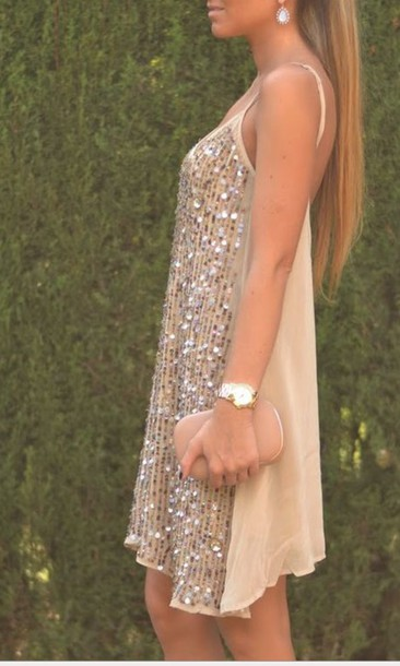 dress nude sequin dress loose fit dress