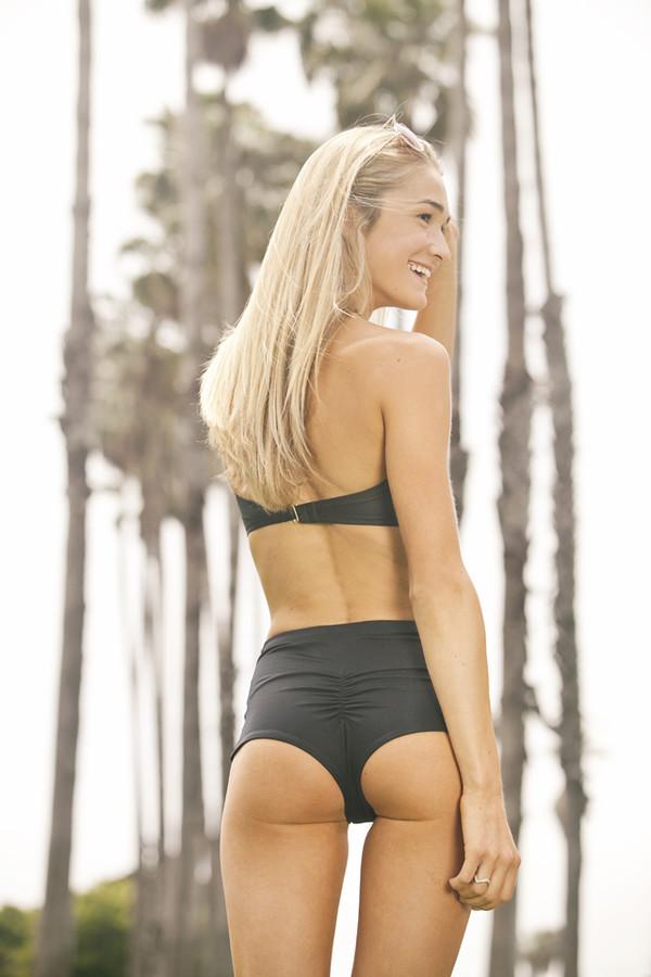 swimwear bikini bikini bottoms High waisted shorts high waisted bikini black bikini black bandeau bikini bandeau bikini top cheeky bikini cheeky