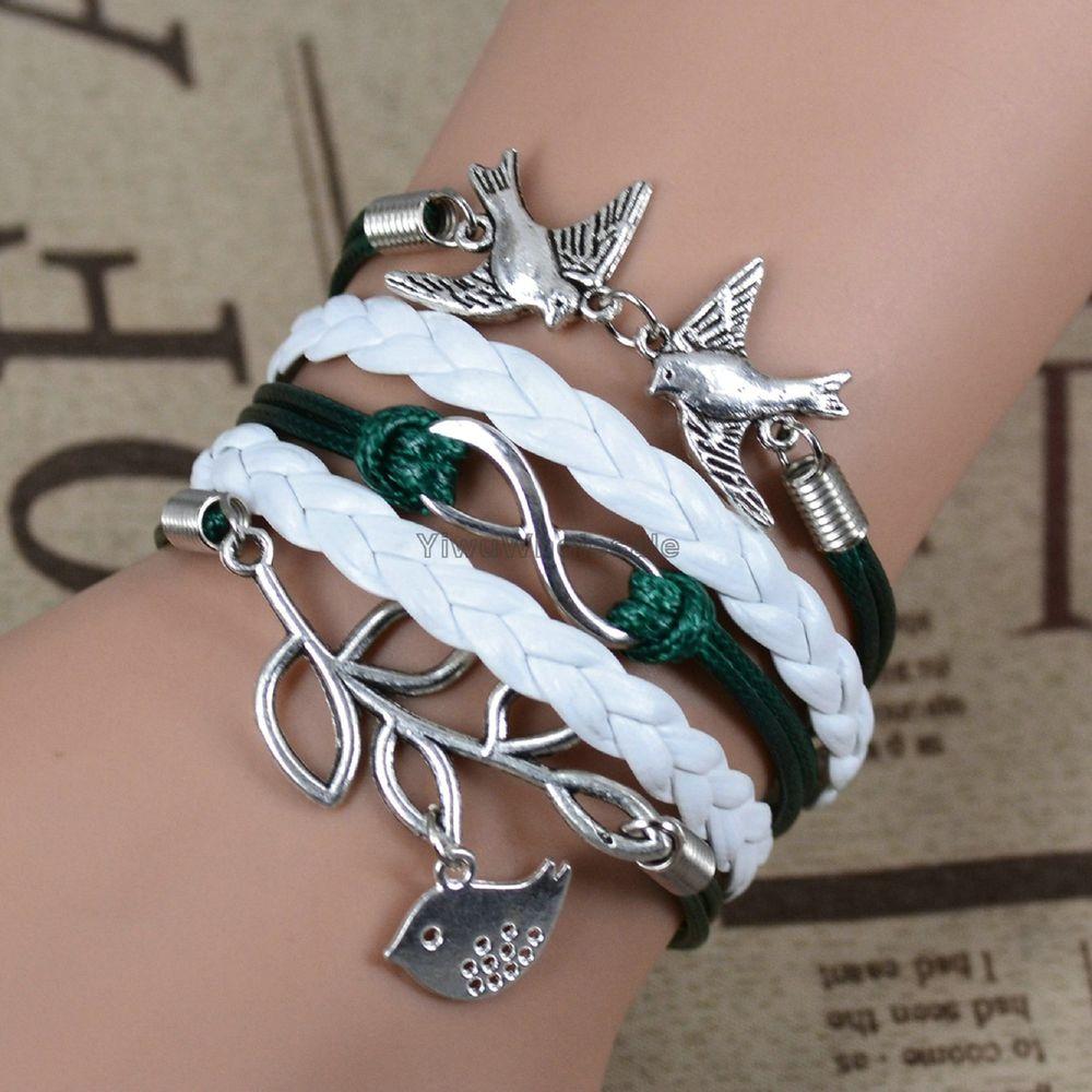 Fashion Infinity Peace Anchor Rudder Charm Handmade Friendship Bracelet | eBay