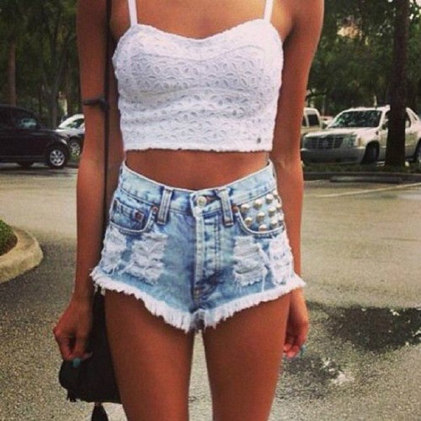 shorts ripped shorts crop tops crop tee top High waisted shorts studded shorts tank top