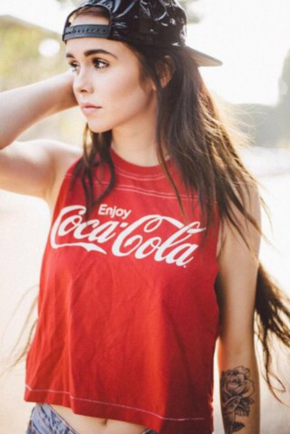 shirt coca cola red top muscle tee