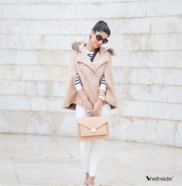jacket cape cape coat coat fur pink pink coat sunglasses bag nude nude coat nude jacket nude cape nude bag cute