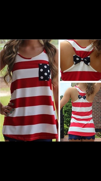 top red white and blue stripes polka dos tank top