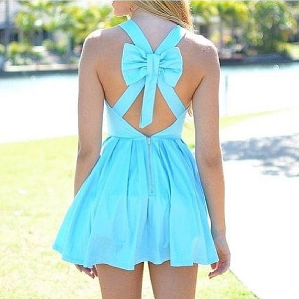 dress turquoise cut-out cross bow back