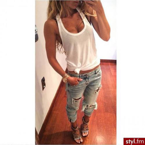 jeans ripped jeans white shirt blouse watch gold watch stud heels t-shirt shoes blue jean pants