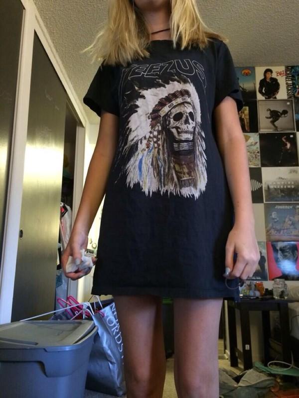 yeezus kanye west native american yeezus merch head dress indian head shirt