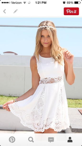 dress graduation white dress cute graduation dress lace dress