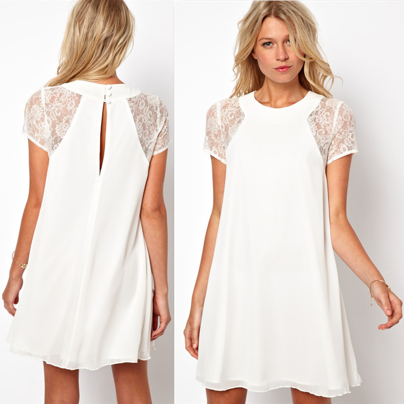 2014 spring summer new women clothing lace short sleeve white back chiffon sexy casual dress Plus size XXL-in Dresses from Apparel & Accessories on Aliexpress.com