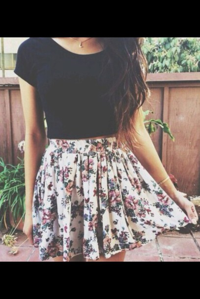 skirt t-shirt shirt floral skater skirt