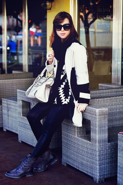 once upon a time blogger bag aztec sweater combat boots sweater coat leggings sunglasses