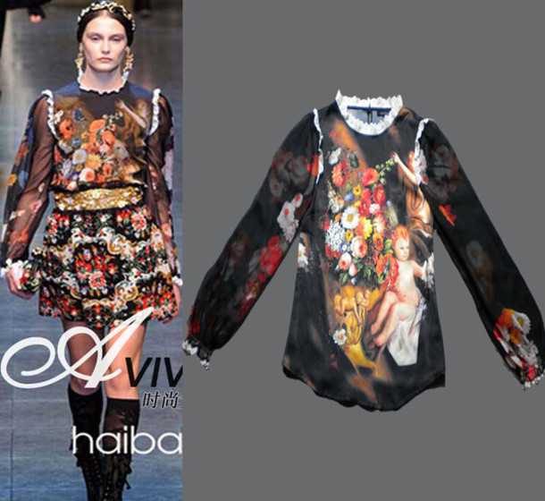 blouse printed blouse oil painting full sleeve shirt o neck