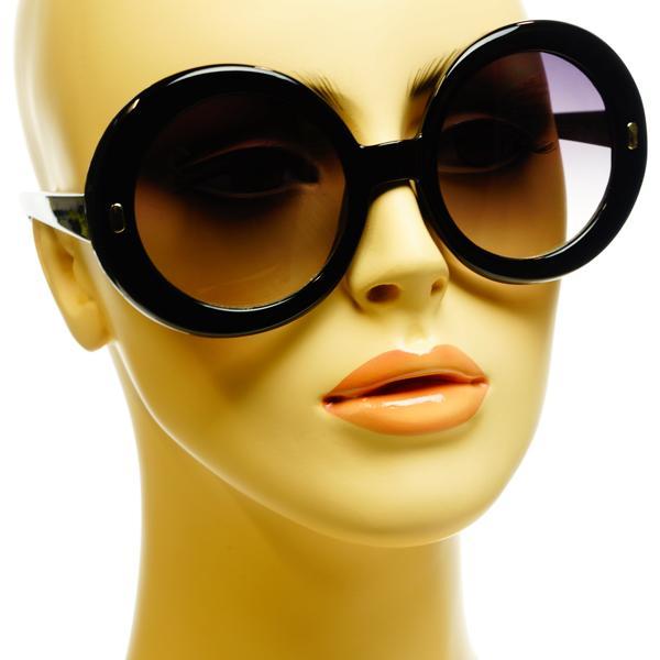 Celebrity Inspired Womens Retro Style Oversized Large Round Sunglasses Black | eBay
