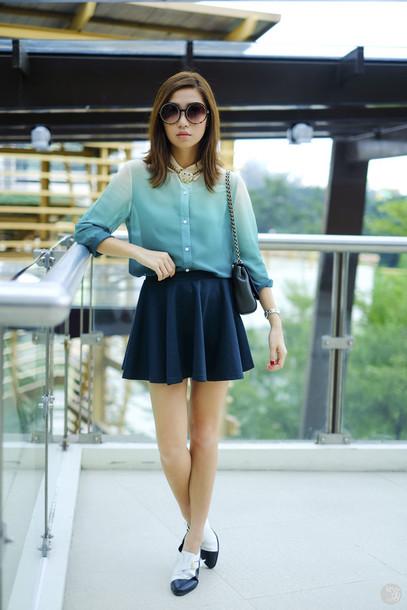 kryzuy blogger skater skirt ombre round sunglasses circle skirt bag sunglasses shoes