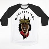 MISUNDERSTOOD KING White Baseball Tee