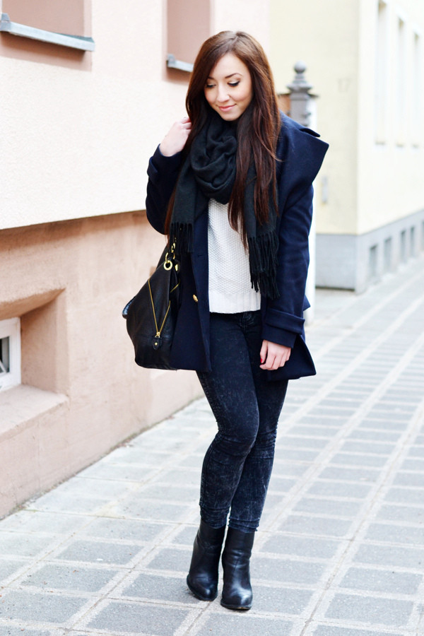 flirting with fashion coat sweater jeans shoes scarf bag