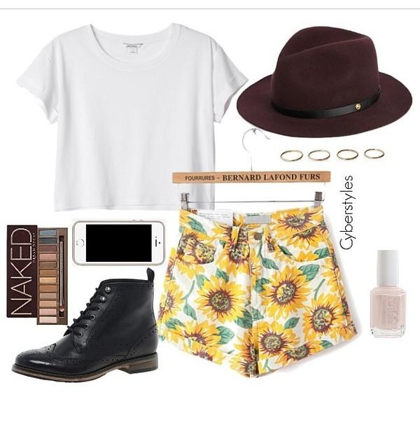 hat sunflower short hat