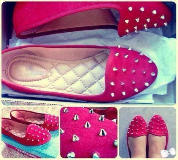 shoes pink spikes cute flats ballet flats