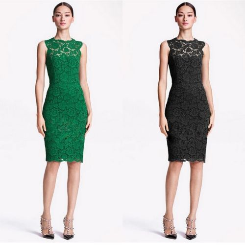 Woman Elegant Europe Splicing Crochet Hollow Lace Tunic Gowns Slim Dress Colored | eBay
