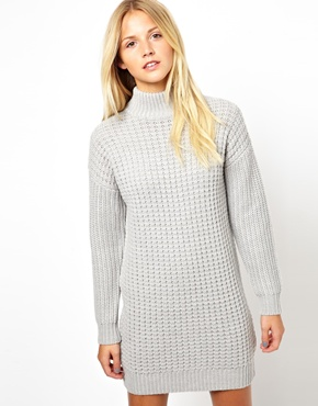 ASOS   ASOS Sweater Dress In Chunky Stitch With High Neck at ASOS