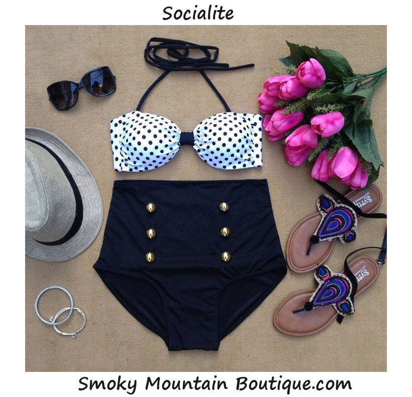 Very Cute Polka Dot Top and Black Bottom Retro High Waist Swimsuit s M L XL | eBay