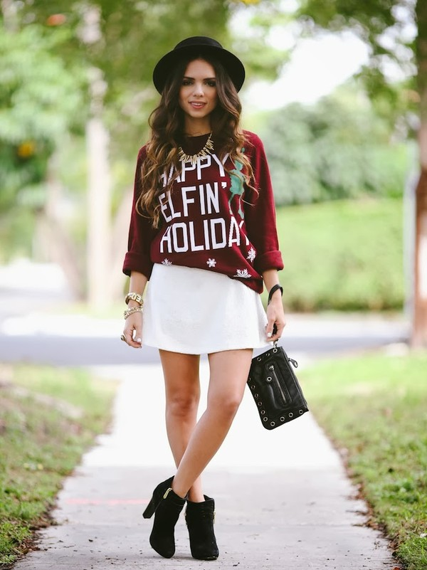 nany's klozet sweater skirt shoes jewels bag hat