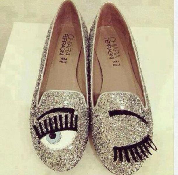 shoes chiara ferragni glitter shoes eyes