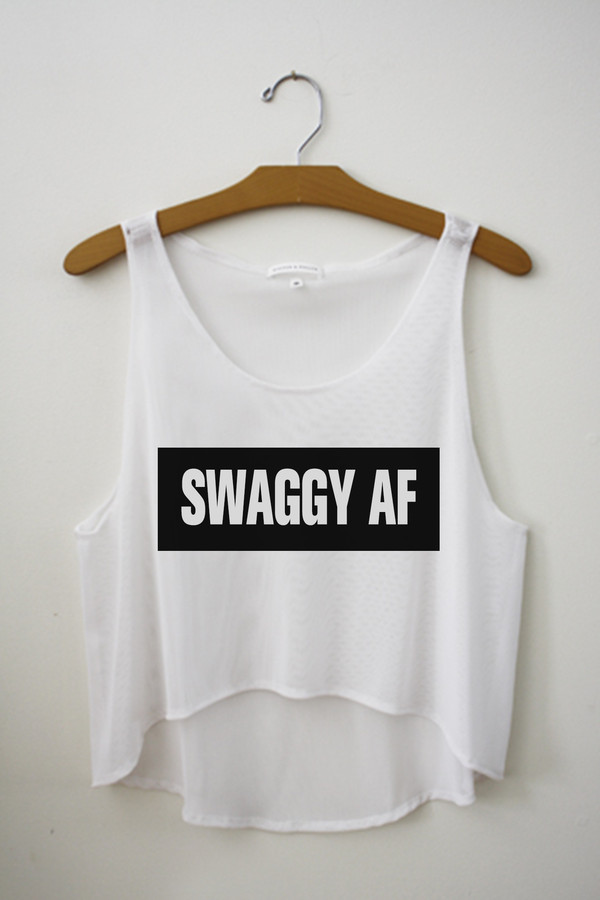 tank top black white teeclique swag swag swag crop tank